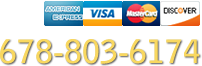 Call us: 678-803-6174. Major credit cards accepted